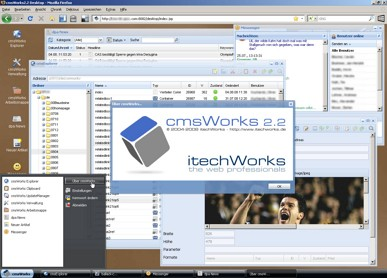 Windows-Feeling im Web-Browser: Der einzigartige cmsWorks 2.2 Redaktions-Desktop jetzt mit praktischen Workgroup-Funktionen.